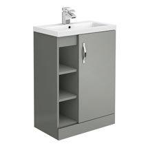 Apollo2 605mm Gloss Grey Open Shelf Floor Standing Vanity Unit Medium Image