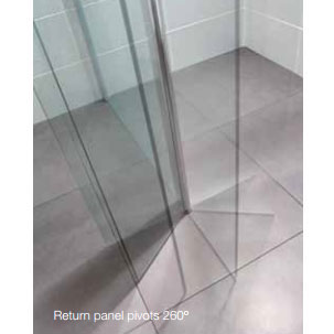April - Identiti² Wetroom Screen with Return Panel - Clear - Various Size Options profile large image view 4