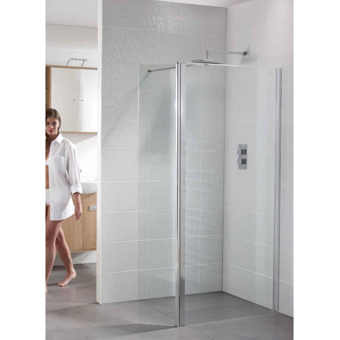 April - Identiti² Wetroom Screen with Return Panel - Clear - Various Size Options profile large image view 3