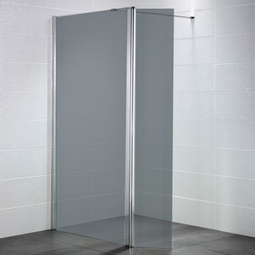 April - Identiti² Wetroom Screen with Return Panel - Smoked - 4 Size Options Large Image