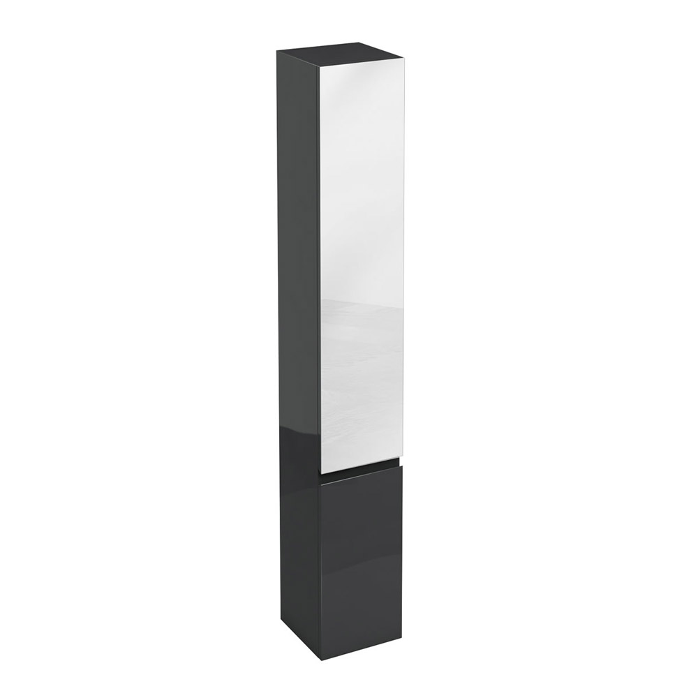 Aqua Cabinets - H1900mm x D300mm Tall Unit with Mirror - Black Large Image