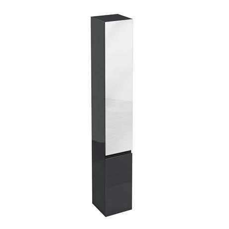 Aqua Cabinets - H1900mm x D300mm Tall Unit with Mirror - Black