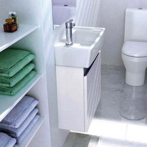 Aqua Cabinets - W500 x D305 Deep Wall Hung Cloakroom Unit and Basin - White profile large image view 2