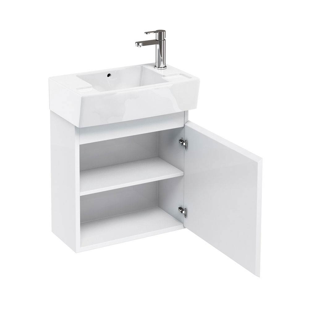 Aqua Cabinets - W500 x D305 Deep Wall Hung Cloakroom Unit and Basin - White profile large image view 3