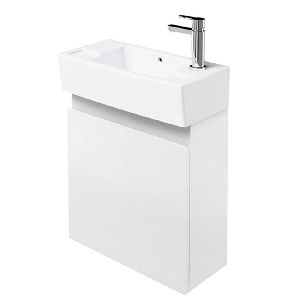 Aqua Cabinets - W500 x D305 Deep Wall Hung Cloakroom Unit and Basin - White profile large image view 1