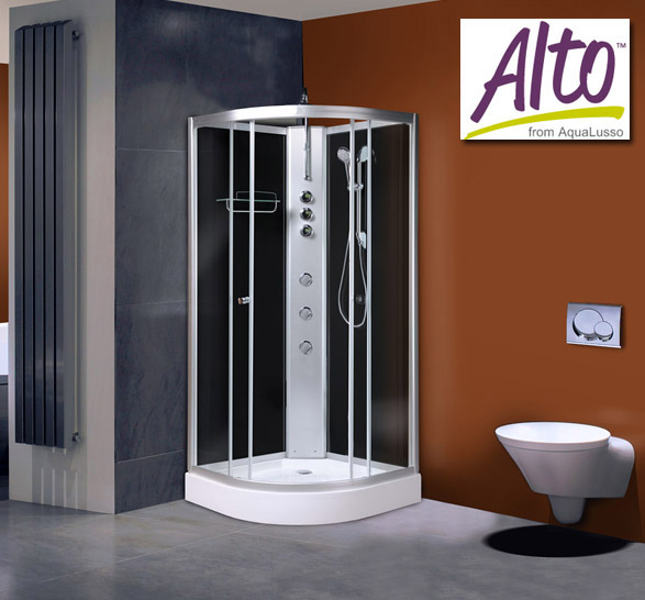 AquaLusso - Alto 02 - 900 x 900mm Shower Cabin - Carbon Black Large Image