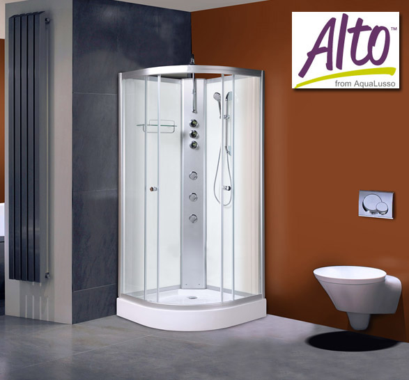 AquaLusso - Alto 03 - 1000 x 1000mm Shower Cabin - Polar White profile large image view 1