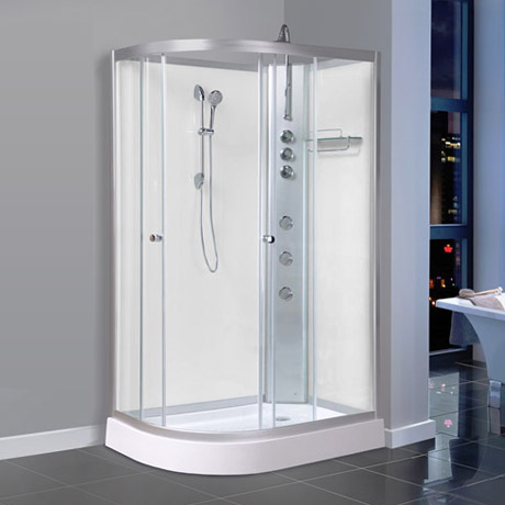 AquaLusso - Alto 04 - 1200mm x 800mm Offset Shower Cabin - Polar White