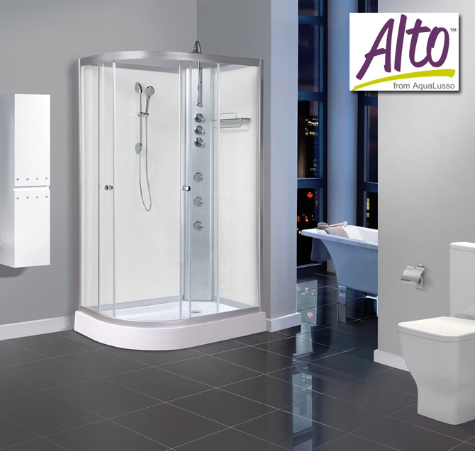 AquaLusso - Alto 04 - 1200mm x 800mm Offset Shower Cabin - Polar White Large Image