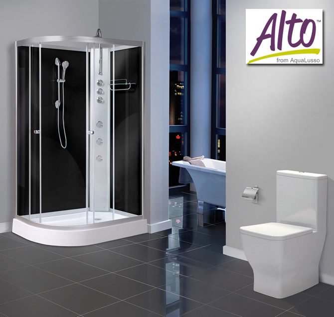 AquaLusso - Alto 04 - 1200mm x 800mm Offset Shower Cabin - Carbon Black Large Image