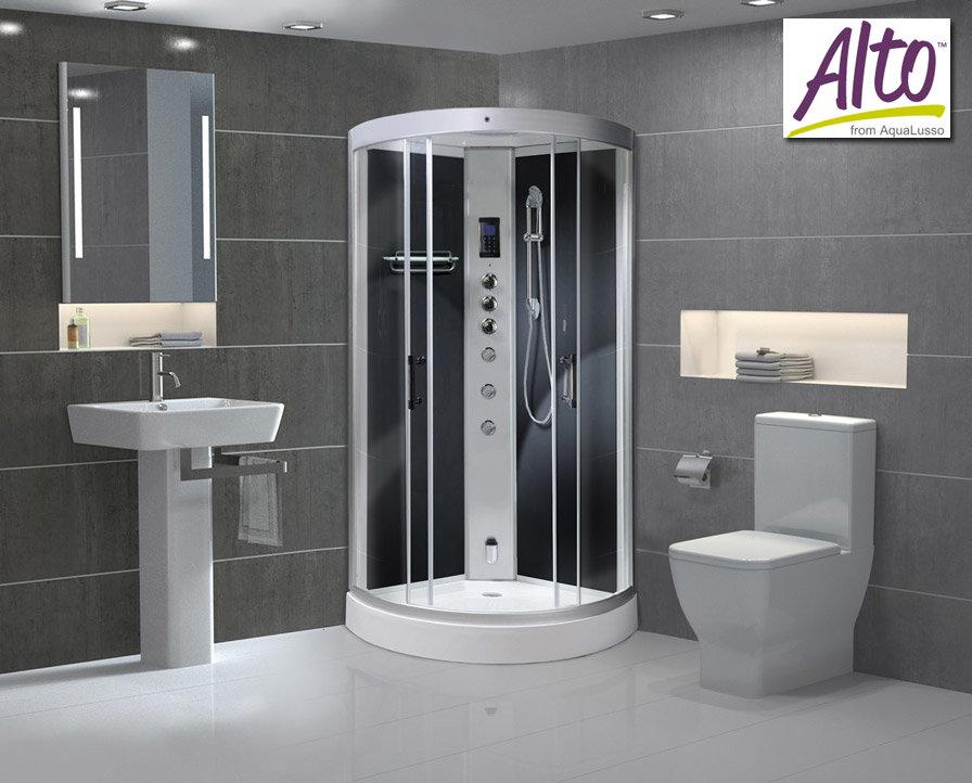 AquaLusso - Alto 90 - 900 x 900mm Quadrant Steam Shower - Carbon Black Large Image