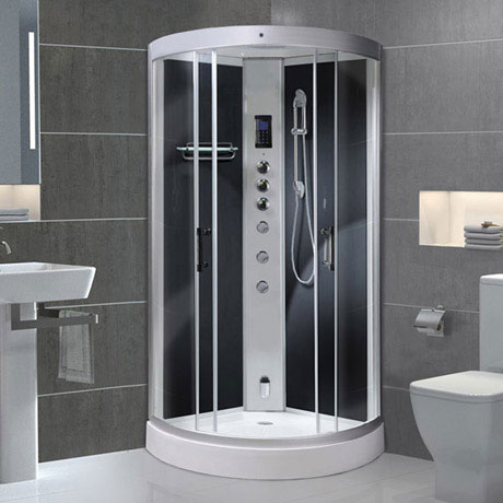 AquaLusso - Alto 90 - 900 x 900mm Quadrant Steam Shower - Carbon Black