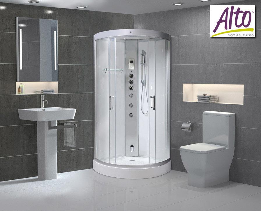 AquaLusso - Alto 90 - 900 x 900mm Quadrant Steam Shower - Polar White profile large image view 1