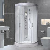 AquaLusso - Alto 90 - 900 x 900mm Quadrant Steam Shower - Polar White Medium Image