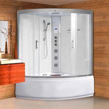 AquaLusso - Alto ST - 1350mm x 1350mm Steam and Whirlpool Corner Bath - Polar White Medium Image
