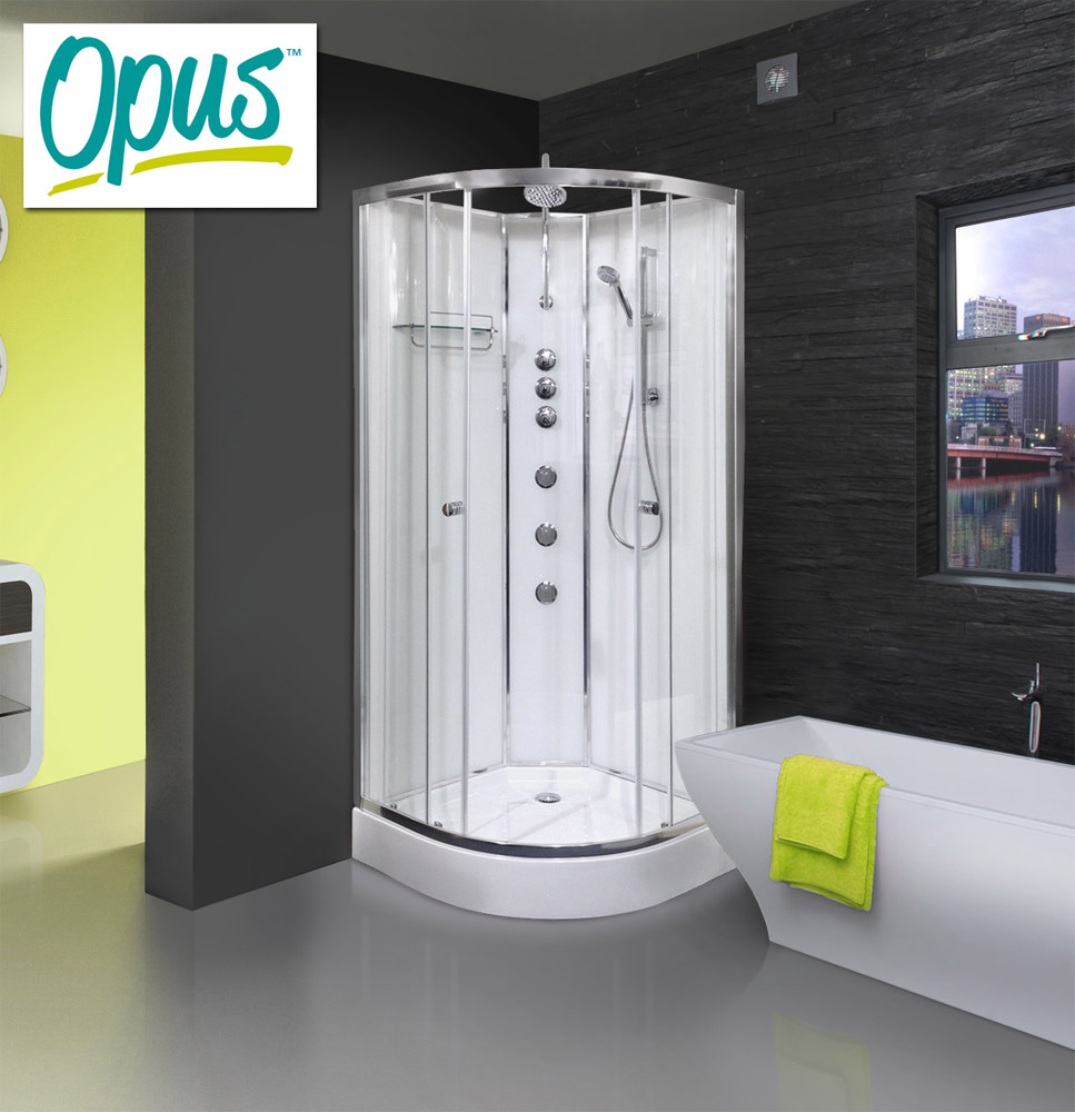 AquaLusso - Opus 02 - 900mm x 900mm Shower Cabin - Polar White Large Image