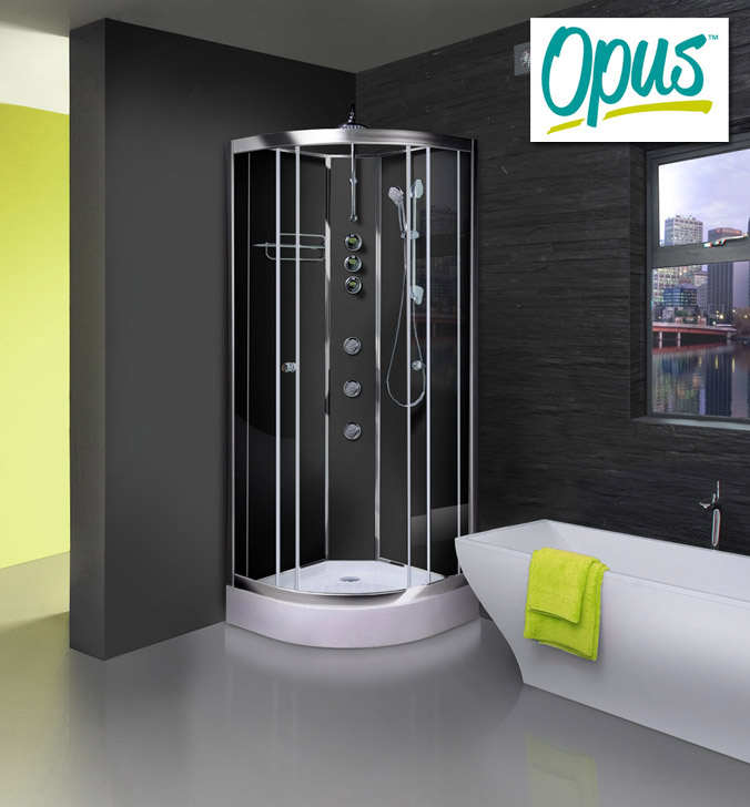 AquaLusso - Opus 02 - 900 x 900mm Shower Cabin - Carbon Black profile large image view 1