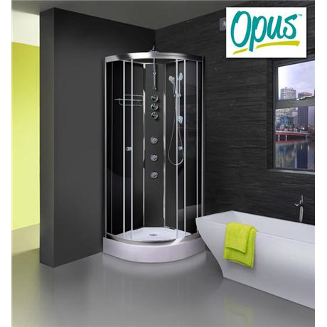 AquaLusso - Opus 02 - 900mm x 900mm Shower Cabin - Carbon Black