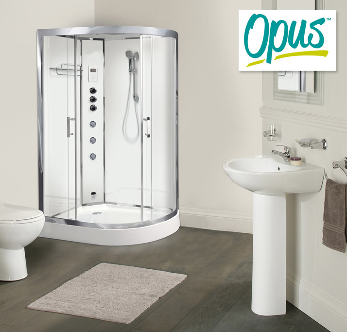 AquaLusso - Opus 12 - 1200 x 800mm Offset Steam Shower - Polar White Large Image