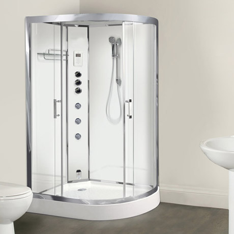 AquaLusso - Opus 12 - 1200 x 800mm Offset Steam Shower - Polar White