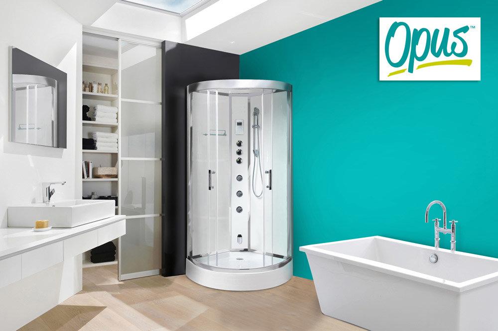 AquaLusso - Opus 80 - 800mm x 800mm Steam Shower Cabin - Polar White ...