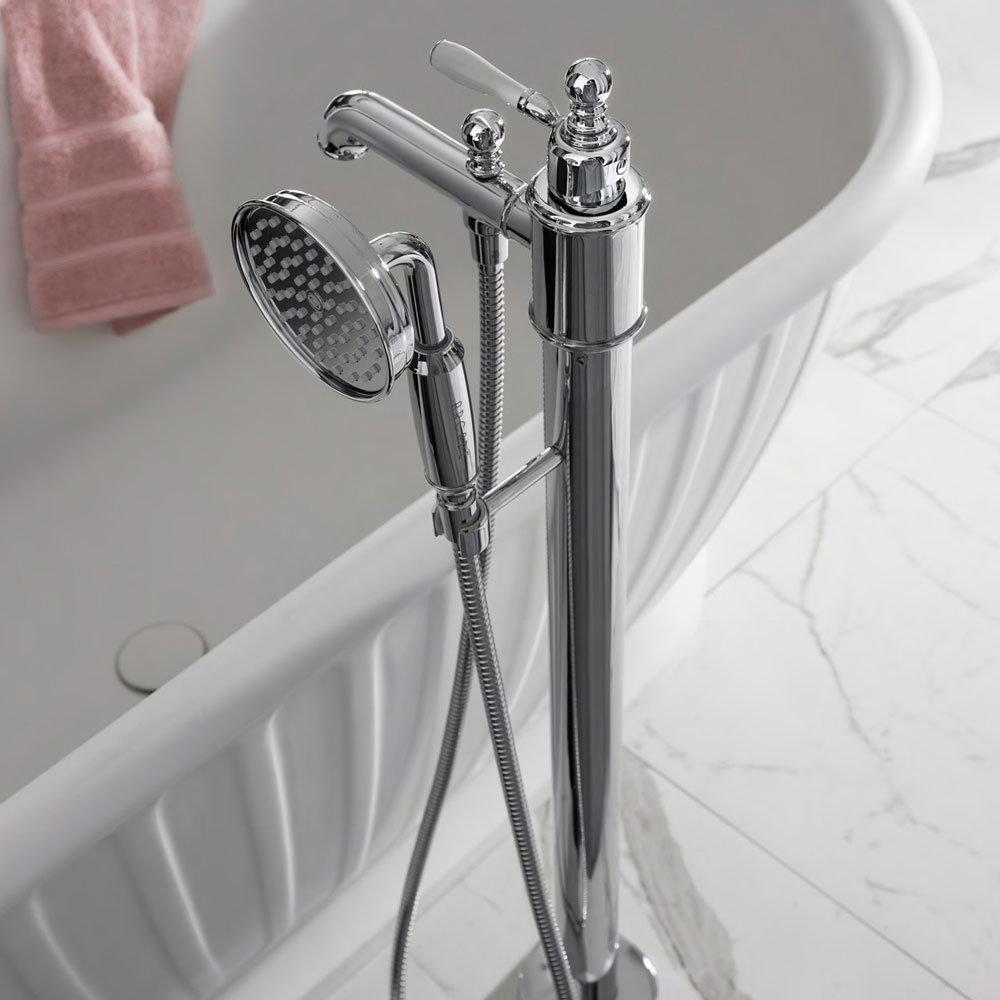 Arcade Floor Mounted Freestanding Bath Shower Mixer - Nickel Profile Large Image