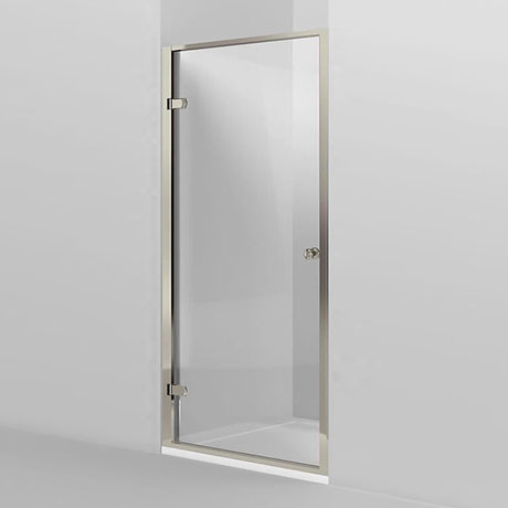 Arcade Hinged Shower Door - Nickel - 2 x Size Options