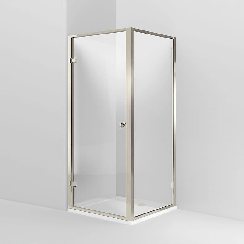 Arcade Hinged Shower Door & Side Panel - Nickel - Various Size Options Large Image