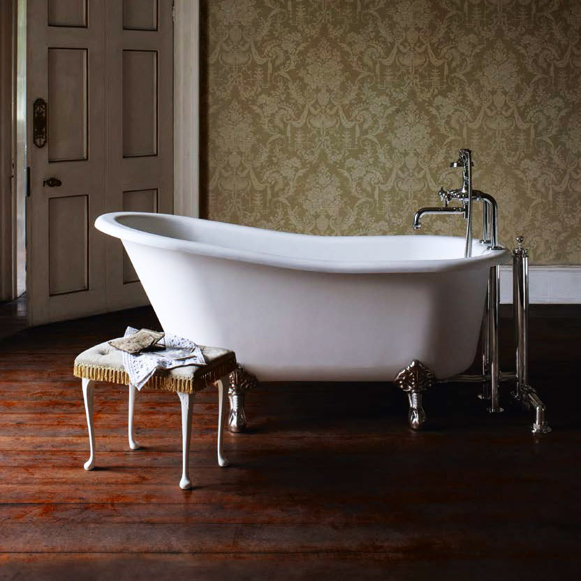 Arcade Sackville Natural Stone Bath with Traditional Legs - 1690 x 750mm profile large image view 1