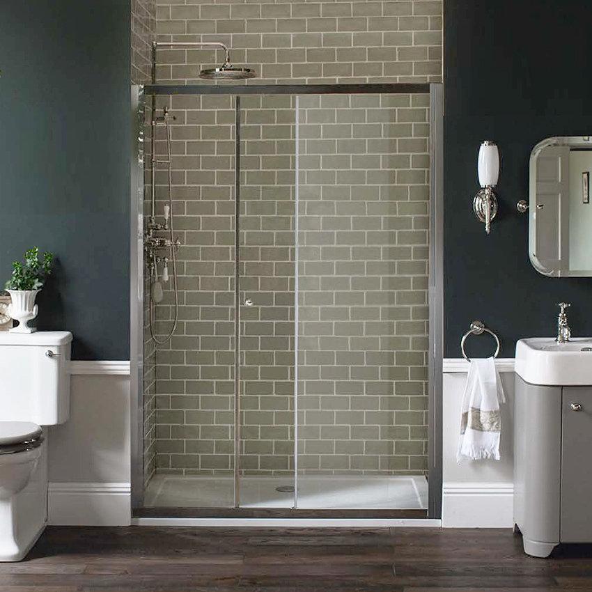 Arcade Single Slider Shower Door - Nickel - 2 x Size Options Profile Large Image