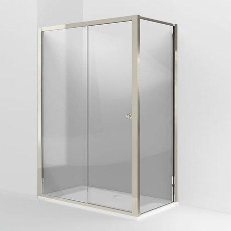 Arcade Single Slider Shower Door & Side Panel - Nickel - Various Size Options