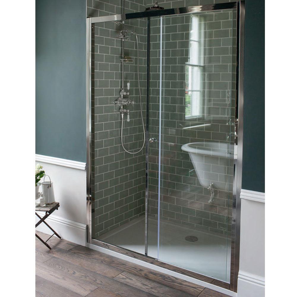 Arcade Single Slider Shower Door - Nickel - 2 x Size Options Feature Large Image