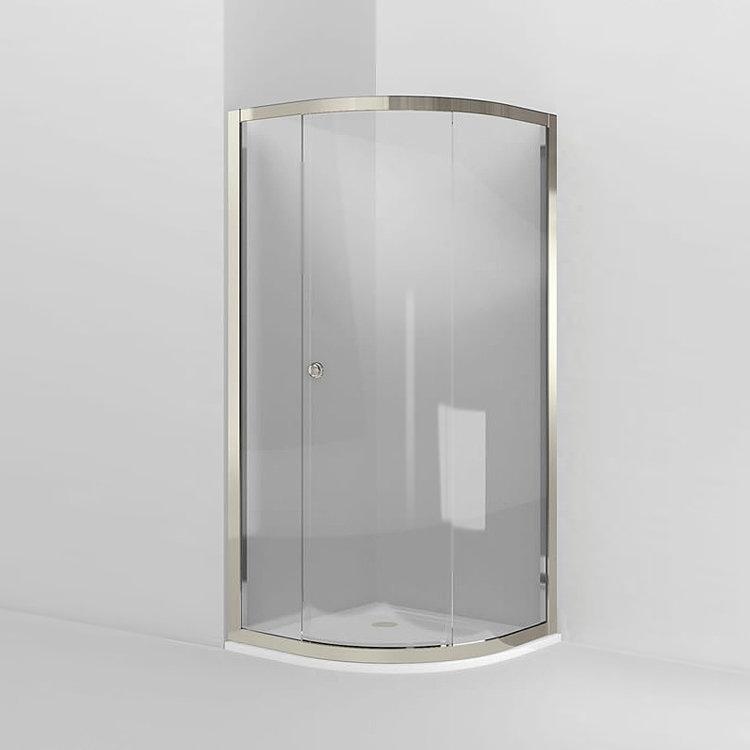 Arcade Single Sliding Door Quadrant Shower Enclosure - Nickel - 2 x Size Options Large Image