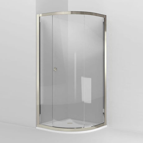 Arcade Single Sliding Door Quadrant Shower Enclosure - Nickel - 2 x Size Options