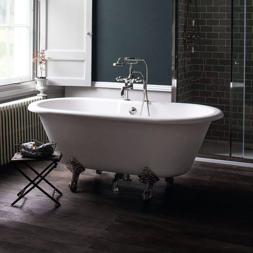 Arcade Vigo Freestanding Natural Stone Bath with Traditional Legs - 1690 x 800mm profile large image view 1