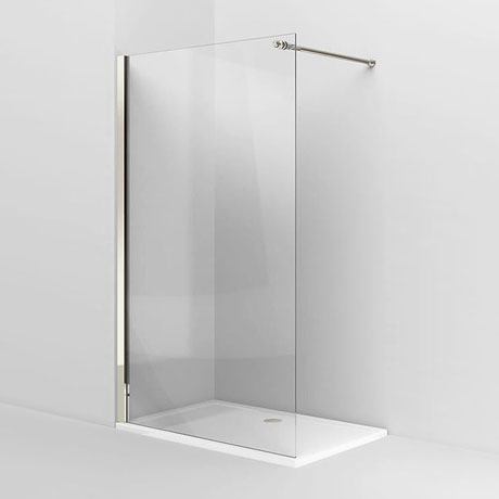 Arcade Walk In Shower Screen - Nickel - 3 x Size Options