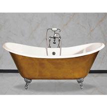 Arcadia Cast Iron Bath with Chrome Feet (1780 x 750mm Slipper Roll Top) Medium Image