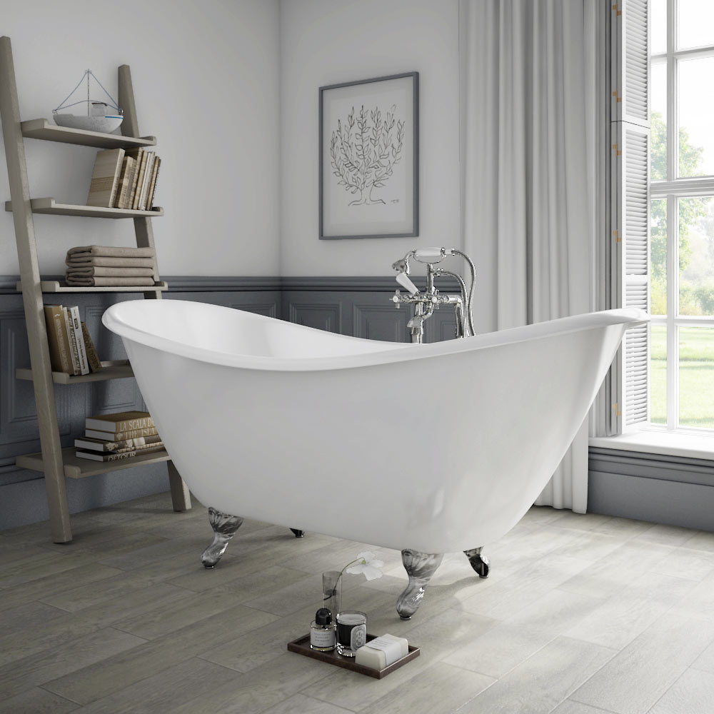 Arcadia Cast Iron Bath with Chrome Feet (1780 x 750mm Slipper Roll Top) profile large image view 1