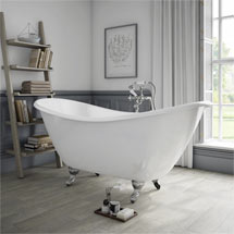 Arcadia Cast Iron Bath with Chrome Feet (1780 x 750mm Slipper Roll Top) Medium Image