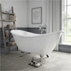 Arcadia Cast Iron Bath with Chrome Feet (1780 x 750mm Slipper Roll Top) profile small image view 1