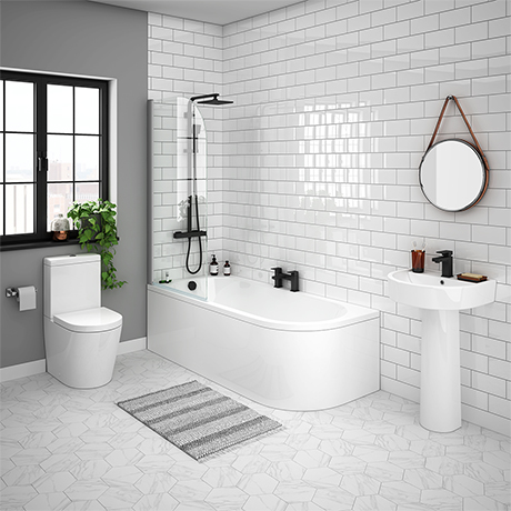 Arezzo Modern 1700 Shower Bath Suite