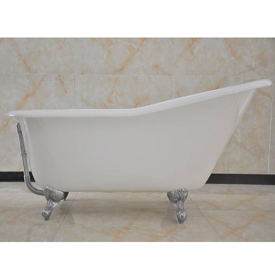 Ashton Cast Iron Bath with Chrome Feet (1530 x 760mm Slipper Roll Top)  Feature Large Image