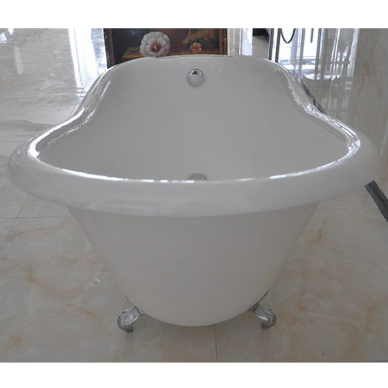 Ashton Cast Iron Bath with Chrome Feet (1530 x 760mm Slipper Roll Top)  Standard Large Image