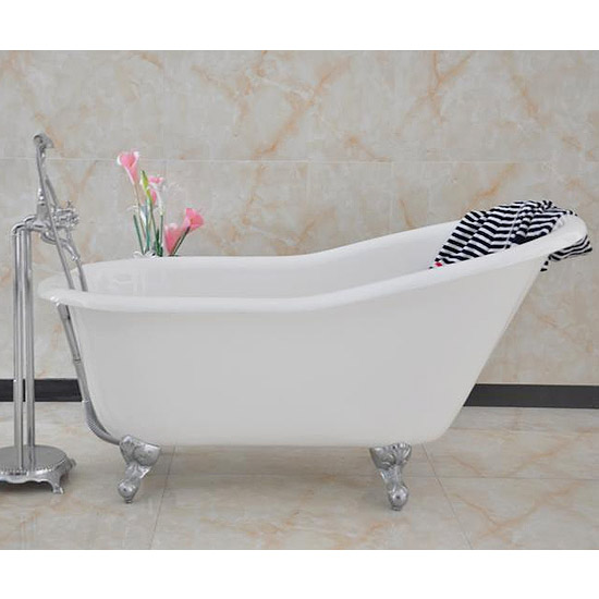 Ashton Cast Iron Bath with Chrome Feet (1530 x 760mm Slipper Roll Top) Large Image