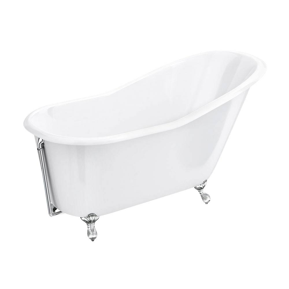 Ashton Cast Iron Bath with Chrome Feet (1530 x 760mm Slipper Roll Top) profile large image view 5