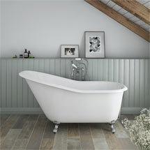 Ashton Cast Iron Bath with Chrome Feet (1530 x 760mm Slipper Roll Top) Medium Image