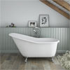 Ashton Cast Iron Bath with Chrome Feet (1530 x 760mm Slipper Roll Top) profile small image view 1