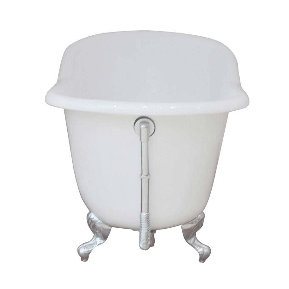 Ashton Cast Iron Bath with Chrome Feet (1530 x 760mm Slipper Roll Top) profile large image view 4