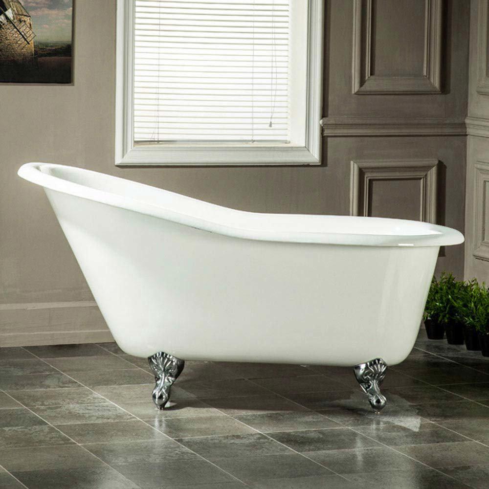 Ashton Cast Iron Bath with Chrome Feet (1530 x 760mm Slipper Roll Top) Large Image