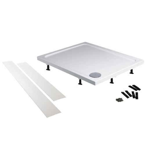Aurora Pearlstone Rectangular Shower Tray & Riser Kit In Bathroom Large Image